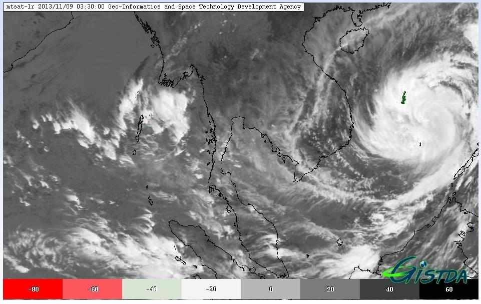 ภาพจากระบบ STORM TRACKER (ข้อมูลจากดาวเทียม MTSAT ณ วันที่ 9 พฤศจิกายน 2556 เวลา 03.30 น.)