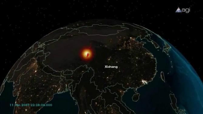 รูปที่ 3.0 (d) ภาพจำลองการทำลายดาวเทียมจากสถานี Xichang